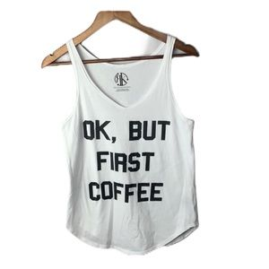 Recycled Karma Tank Top White Coffee Graphic